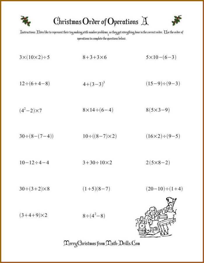 Order Of Operations With Exponents Worksheet Pdf With Answers