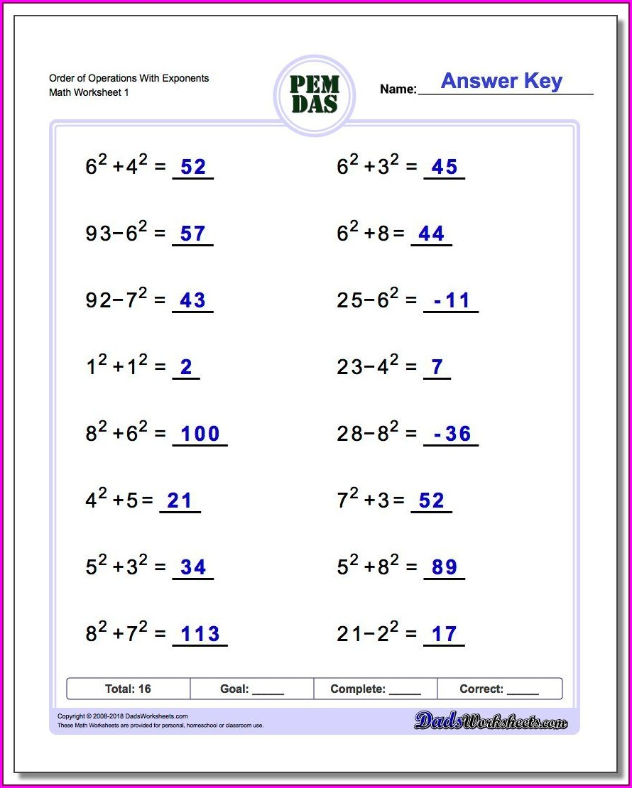 Order Of Operations Worksheet 1 Answer Key