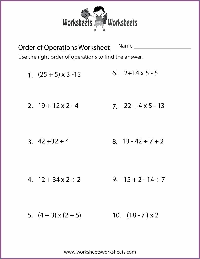 Order Of Operations Worksheet 9th Grade