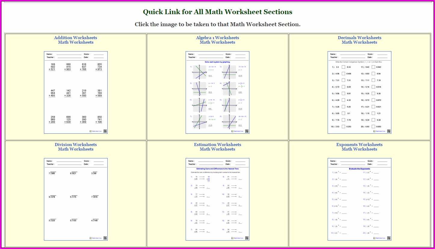 Order Of Operations Worksheet Answer Key Math Aids.com