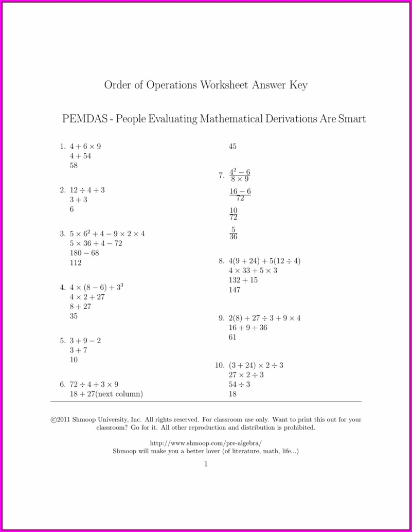 Order Of Operations Worksheet Answer Key