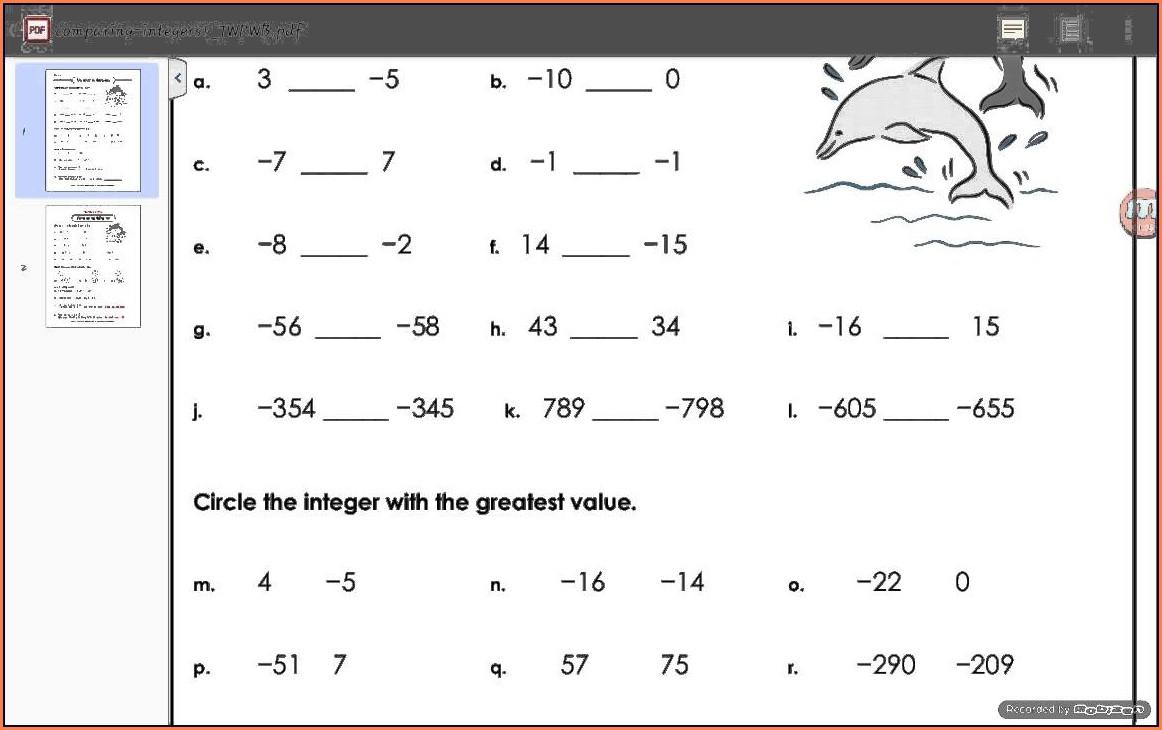 Ordering Negative Numbers Worksheet Pdf