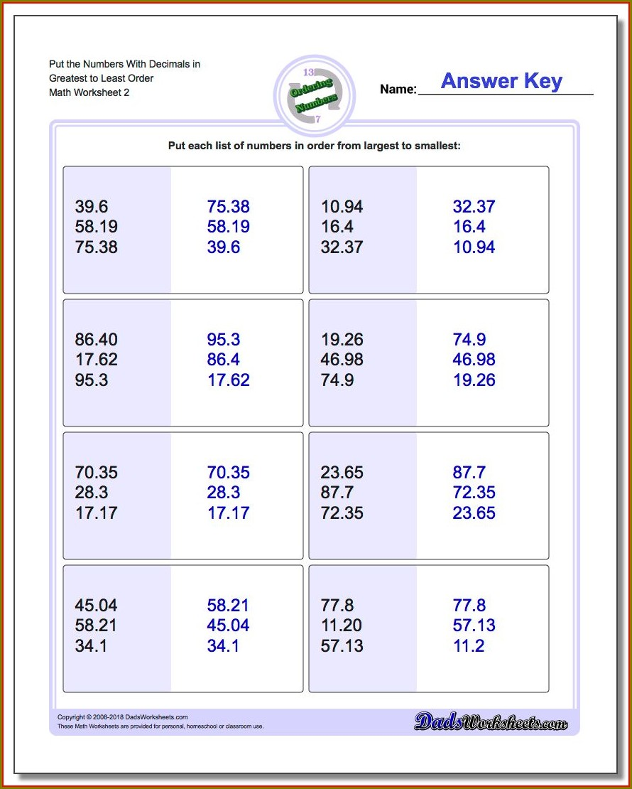 Ordering Numbers With Decimals Worksheets