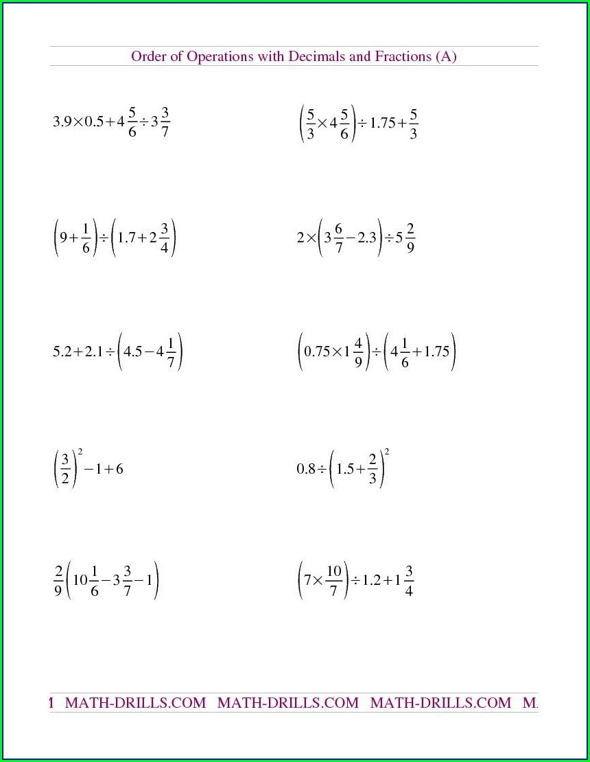Ordering Of Rational Numbers Worksheet