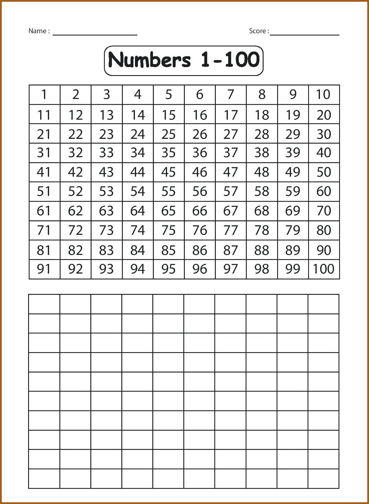 Ordinal Numbers 1 To 100 Worksheet