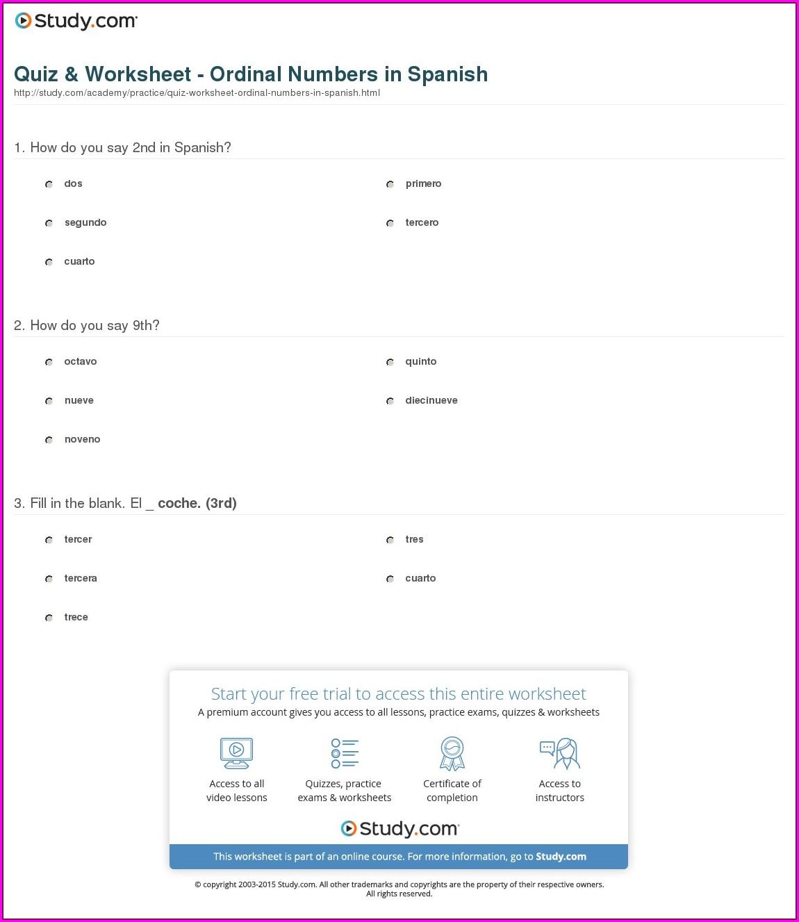 Ordinal Numbers In Spanish Worksheet