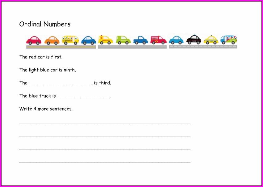 Ordinal Numbers To Twenty Worksheet