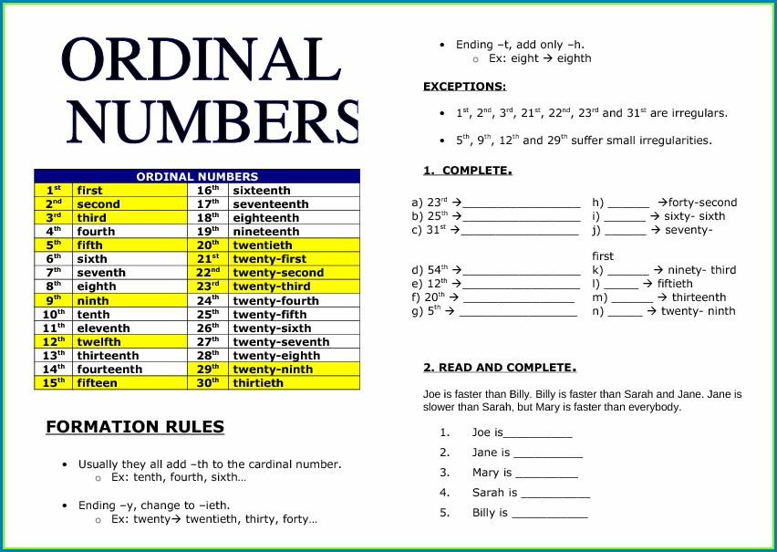 Ordinal Numbers Worksheet Busy Teacher