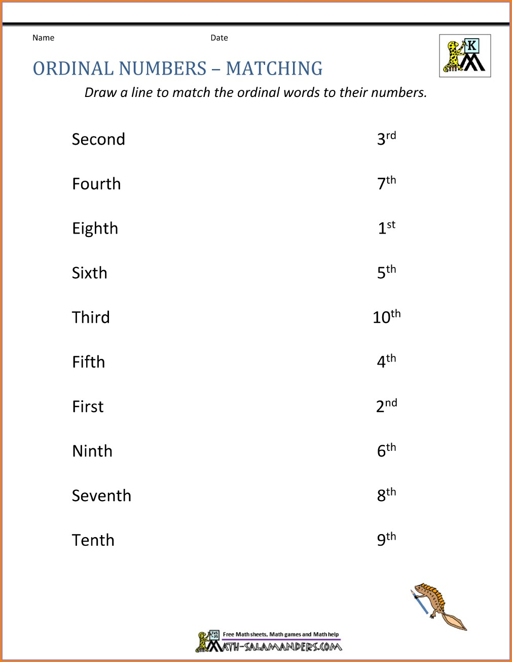 Ordinal Position Ordinal Numbers Worksheet For Kindergarten