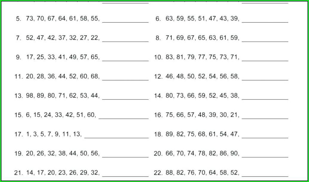 Pattern Math Worksheets Grade 7