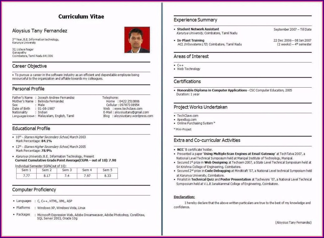 Pdf Fresher Resume Format Download In Ms Word