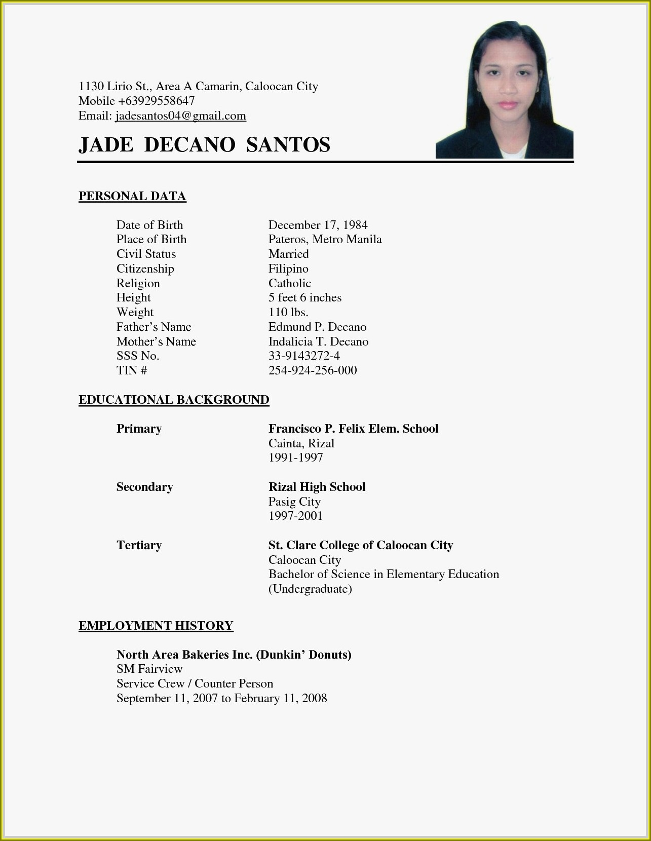 Pdf Simple Resume Format Download