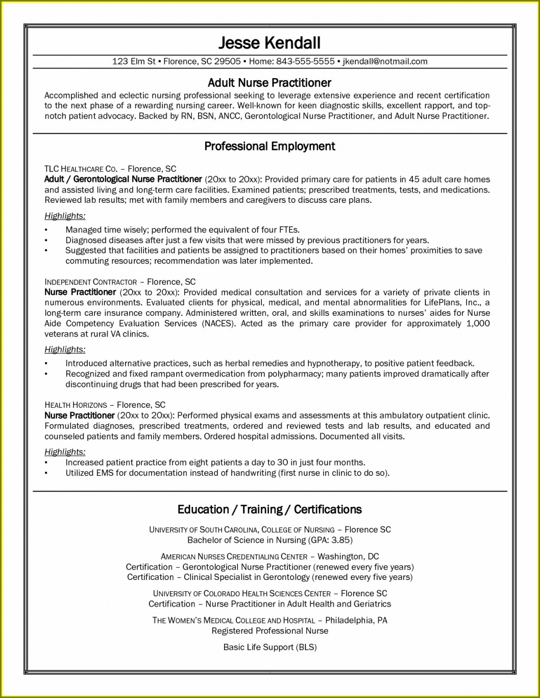 Pediatric Registered Nurse Resume Examples