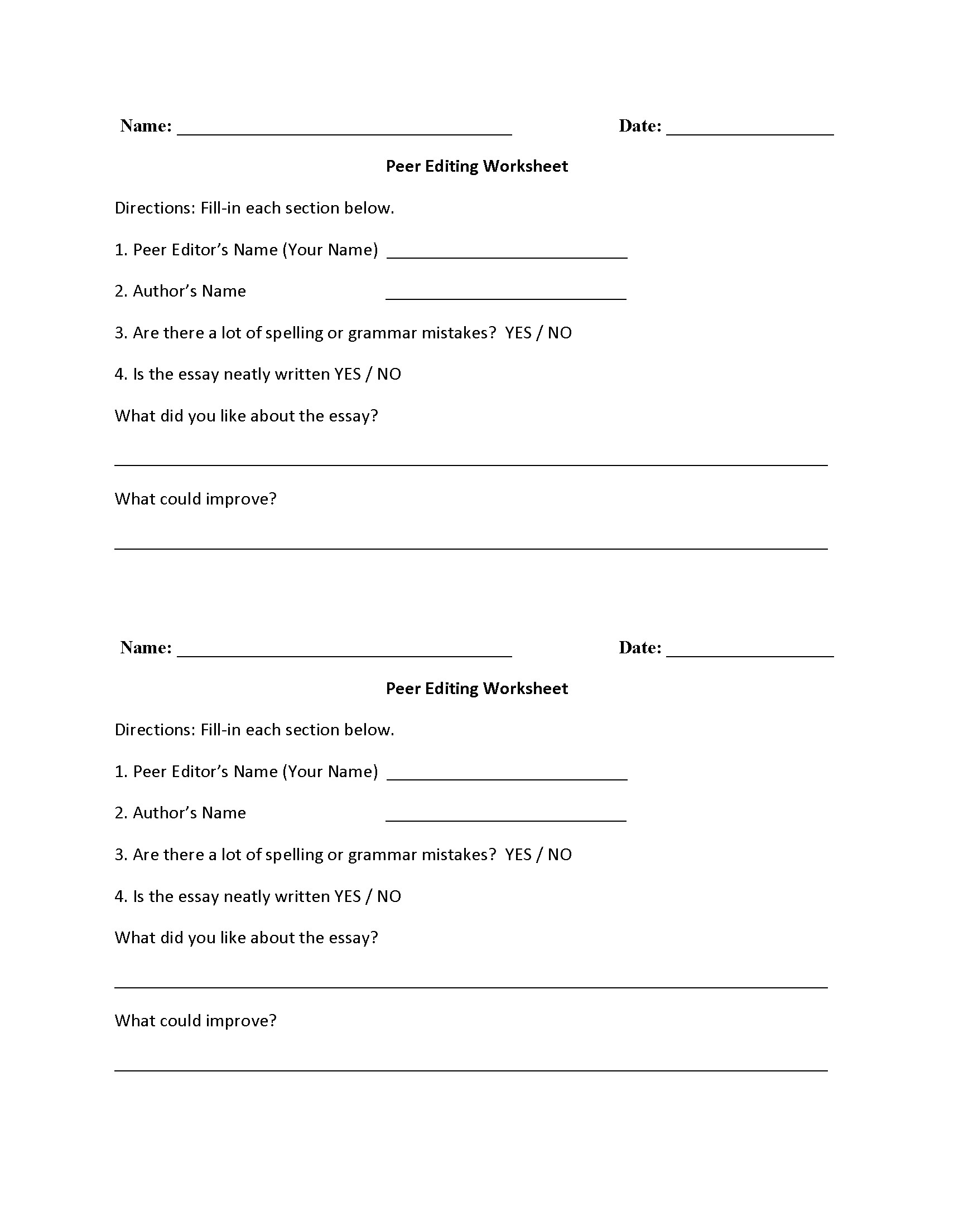 Peer Editing Writing Worksheets
