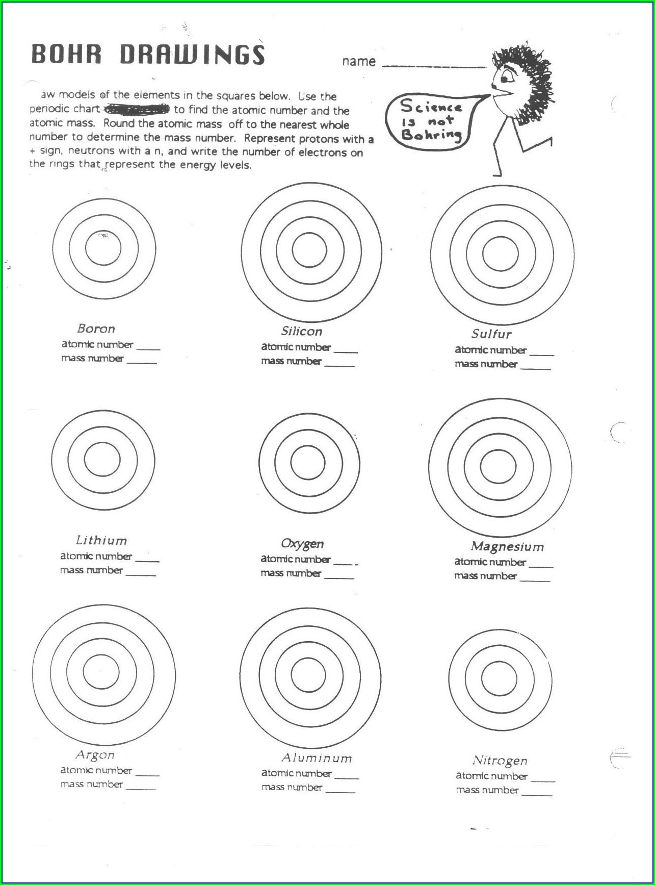 Periodic Table Bohr Diagram Worksheet