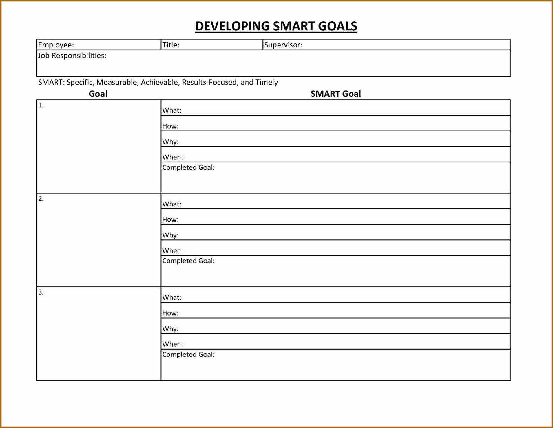 Personal Goal Setting Worksheet Excel