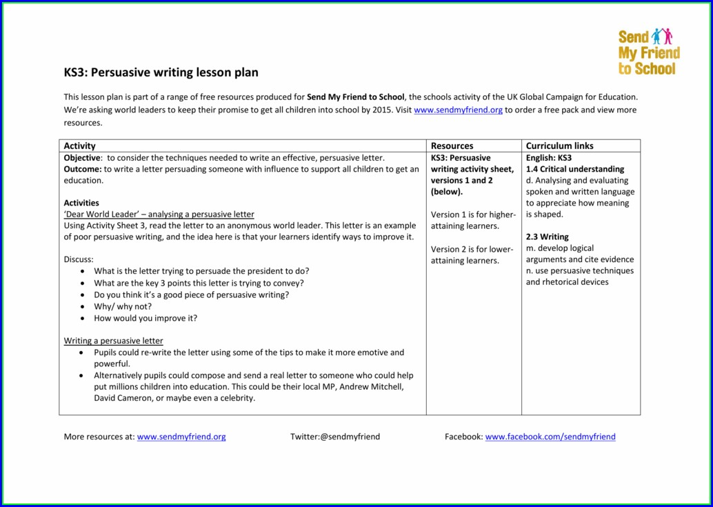 Persuasive Writing Ks3 Worksheet