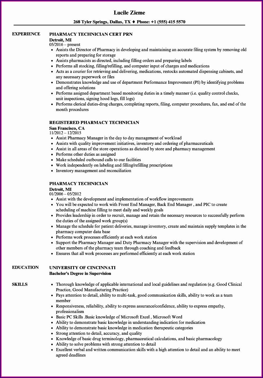 Pharmacy Tech Resume Examples