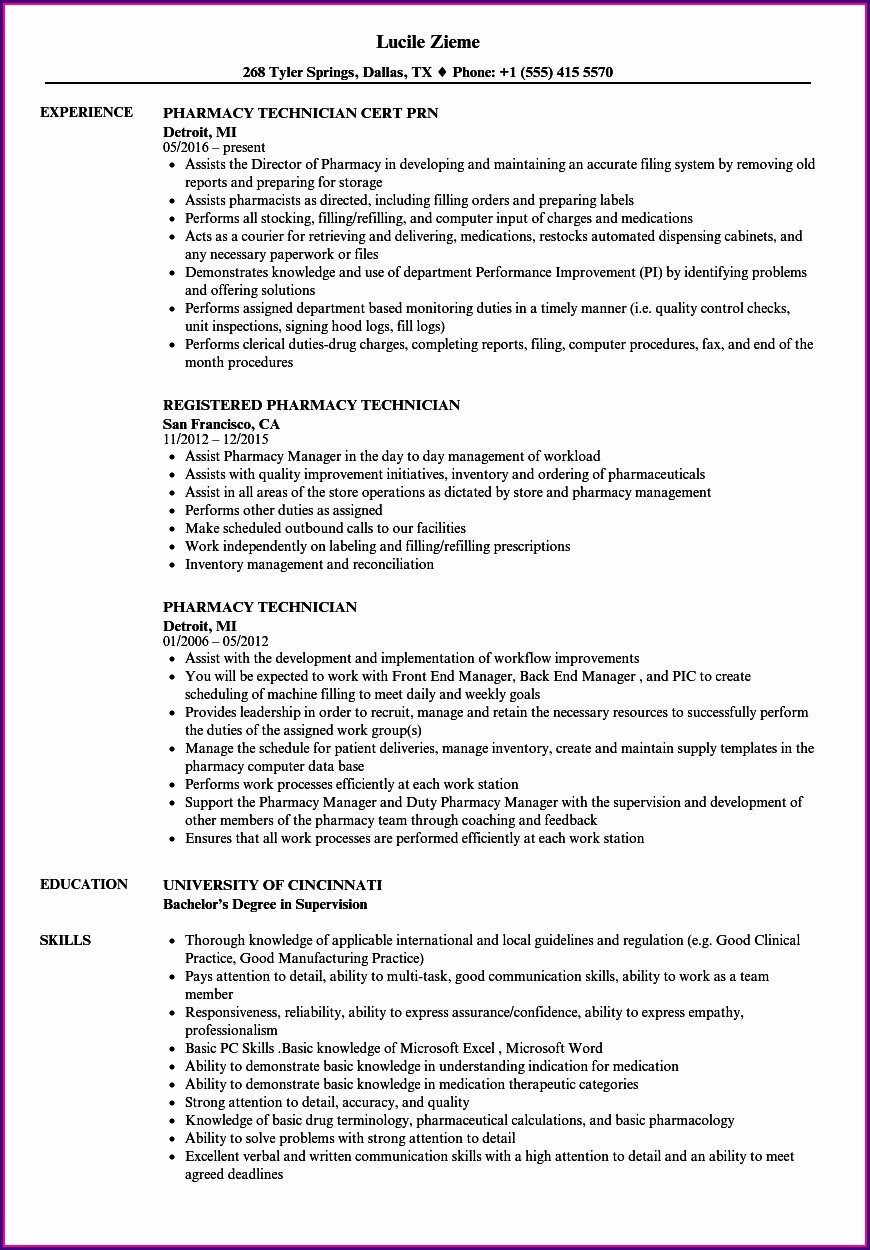 Pharmacy Tech Resume Objective Samples