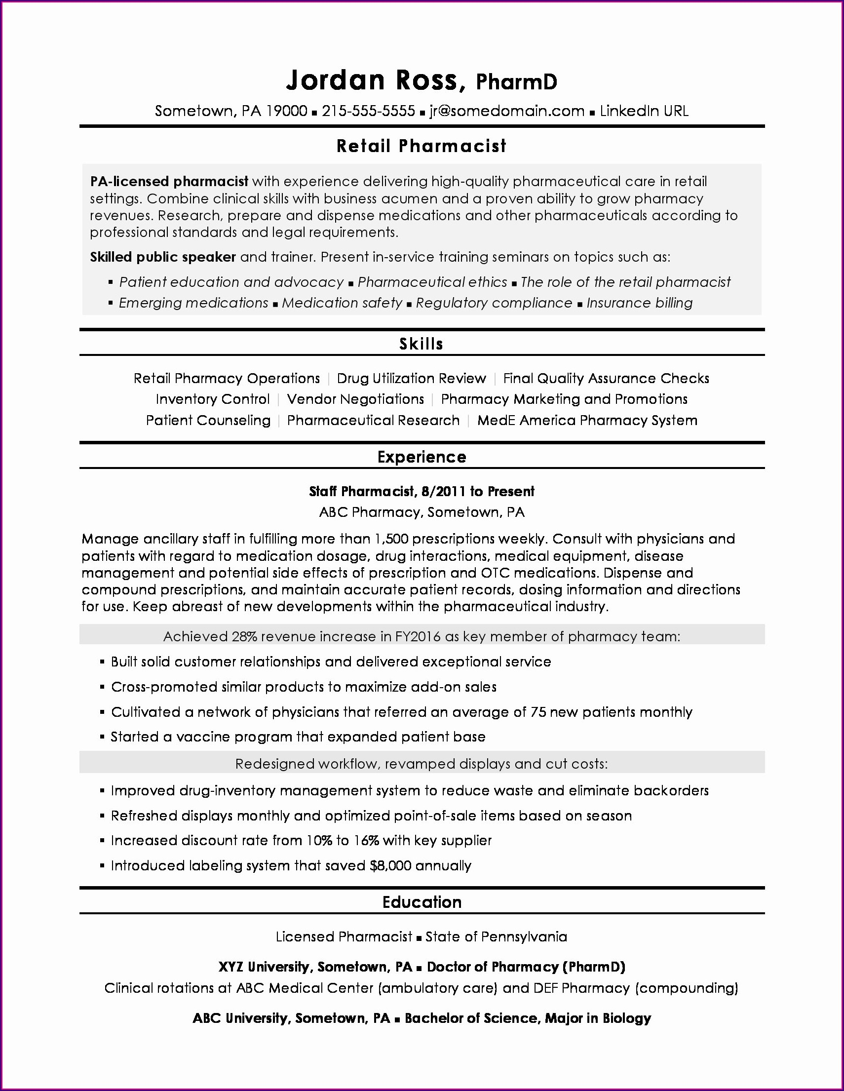 Pharmacy Technician Resume Sample For Hospital