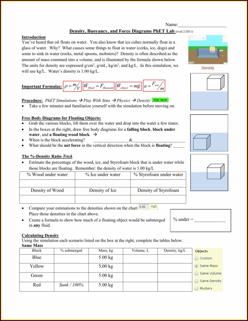 Phet Density Lab Worksheet Answers