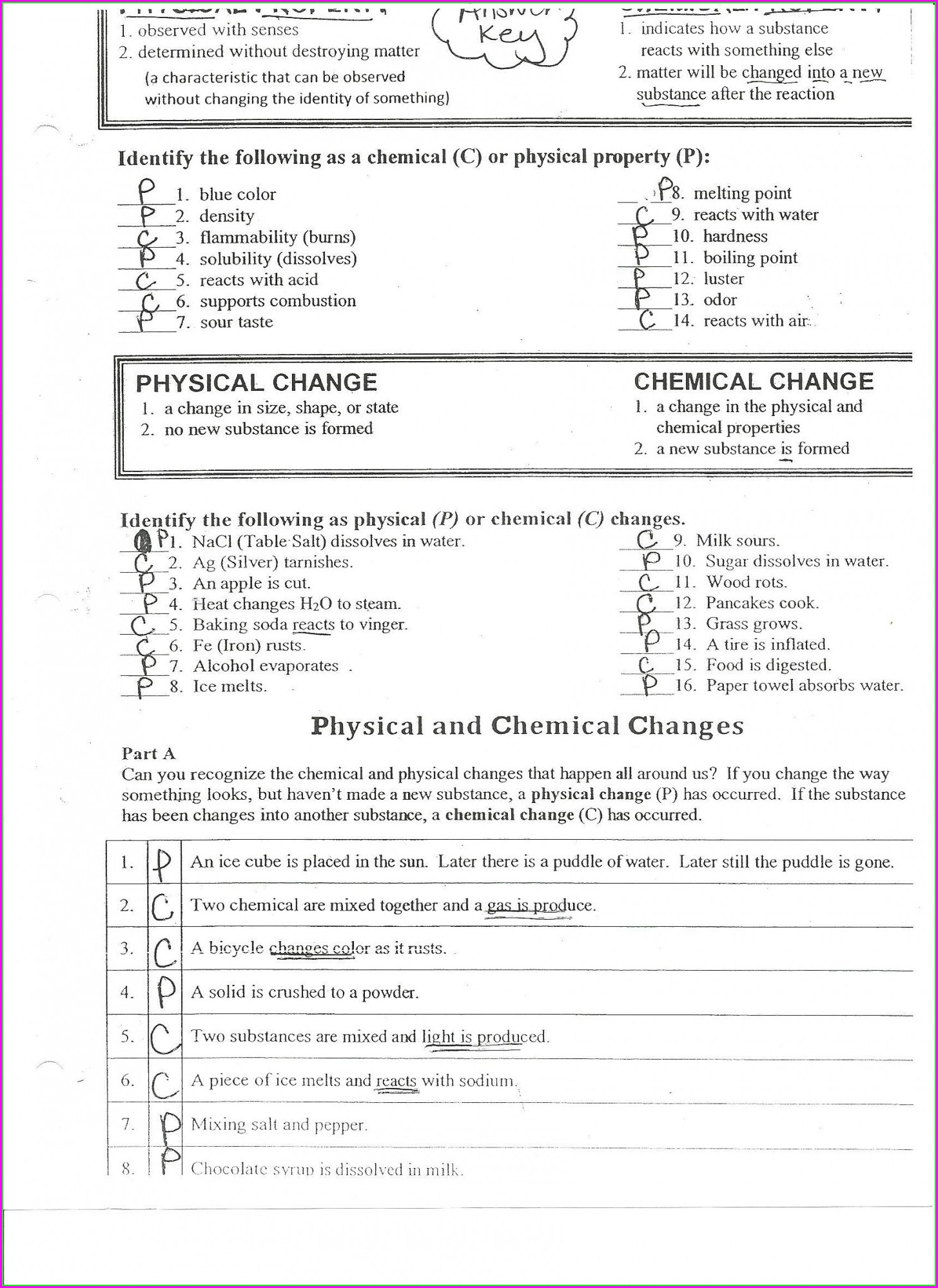 Physical Science Physical And Chemical Changes Worksheet Answers