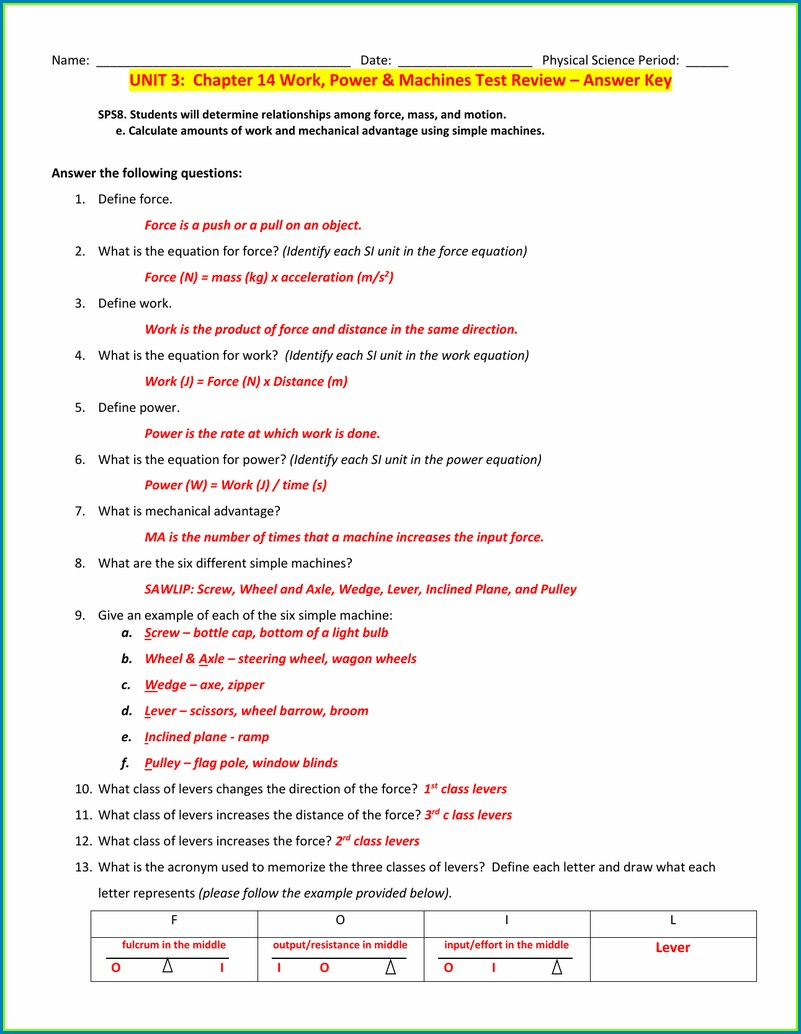 Physical Science Work And Power Worksheet Answers