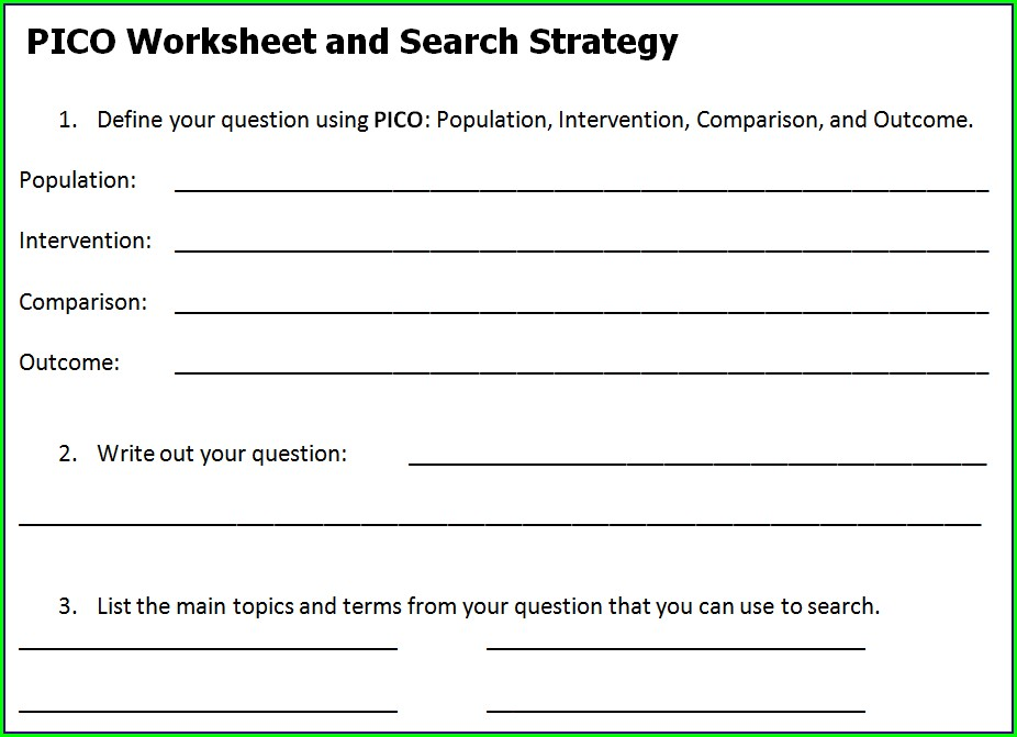 Pico Worksheet Word Document