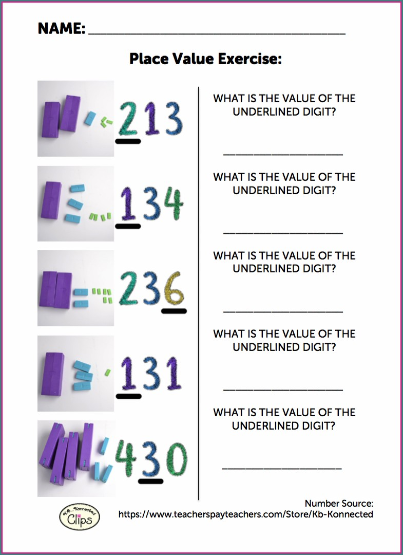 Place Value Worksheet 3 Digit Numbers