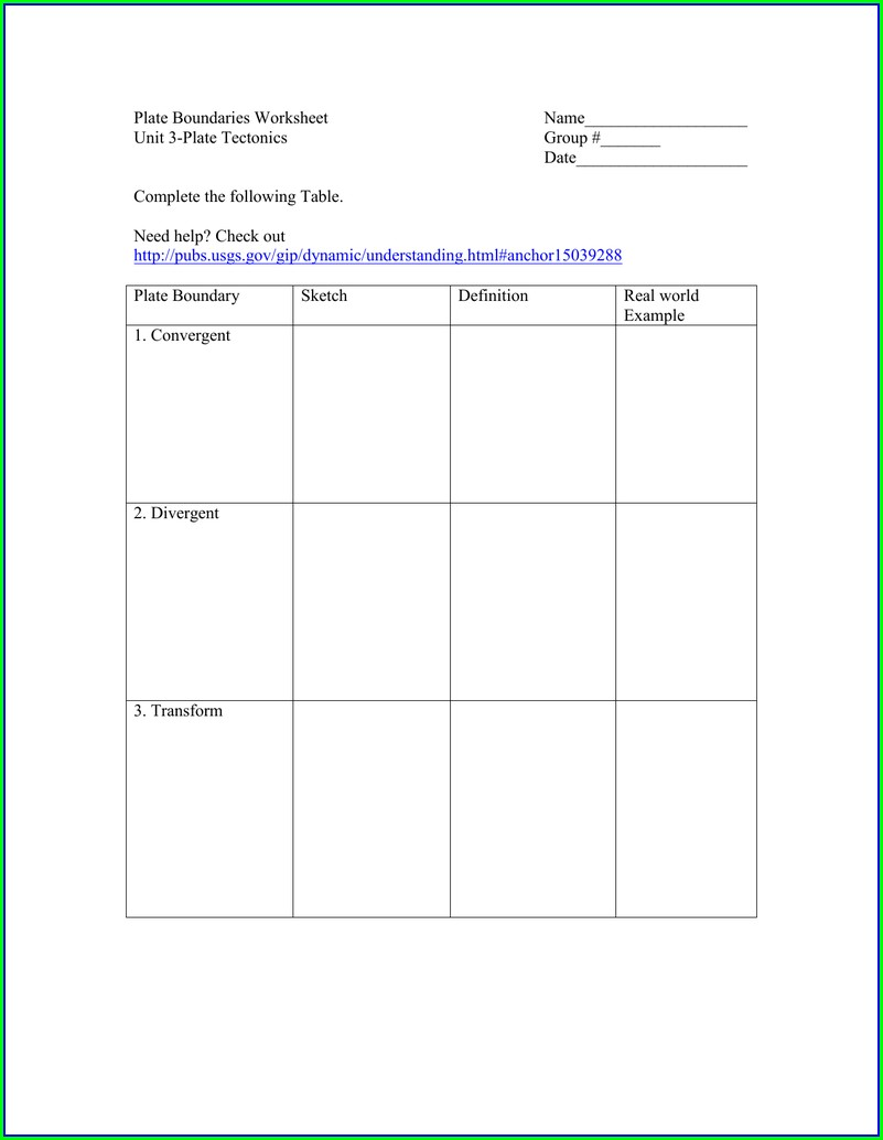Plate Tectonic Boundaries Worksheet Answer Key