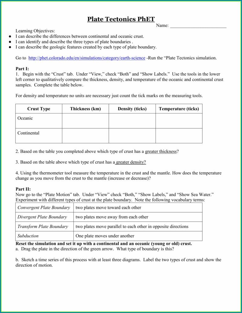 Plate Tectonics Phet Worksheet Answers