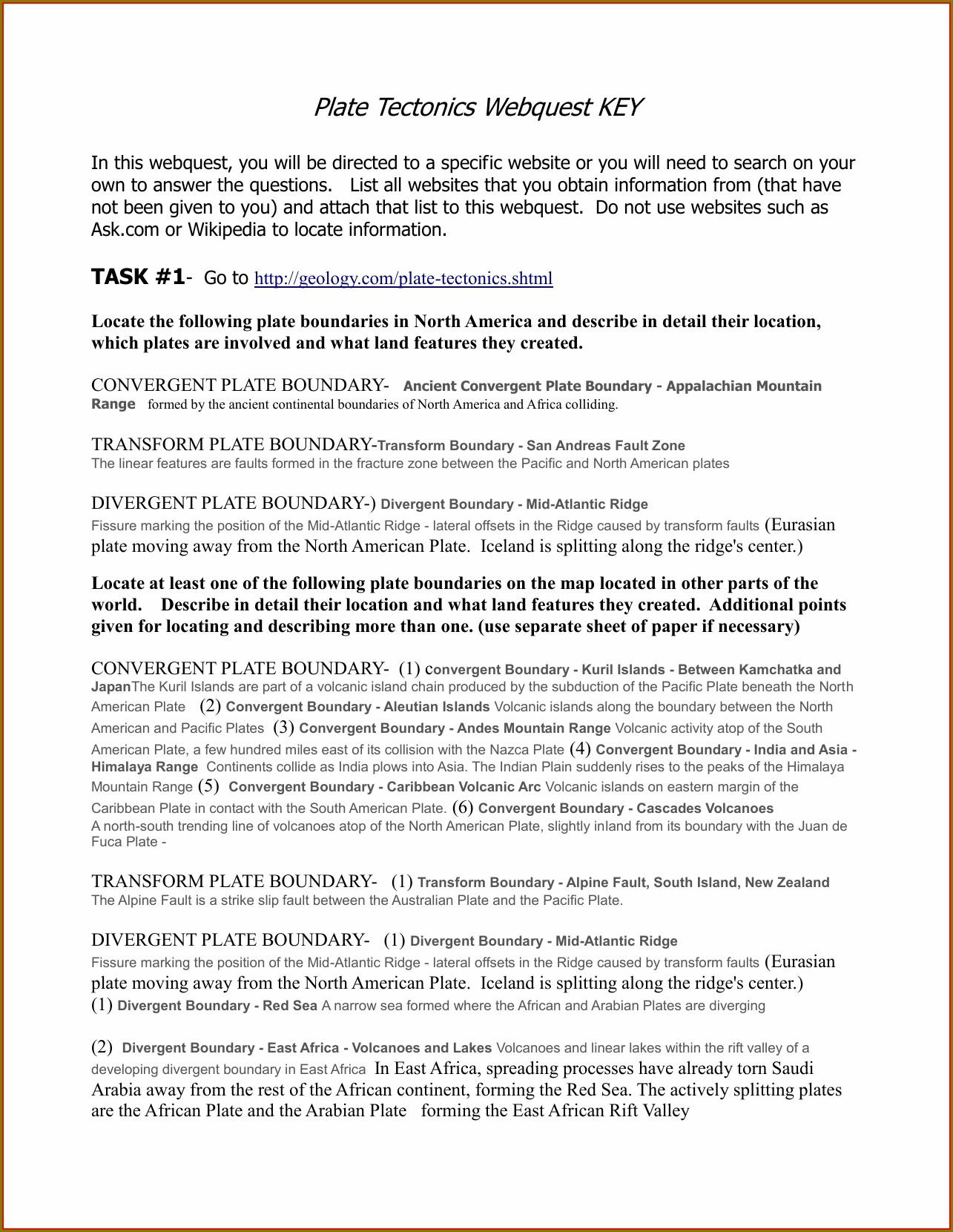 Plate Tectonics Vocabulary Worksheet Answers Worksheet
