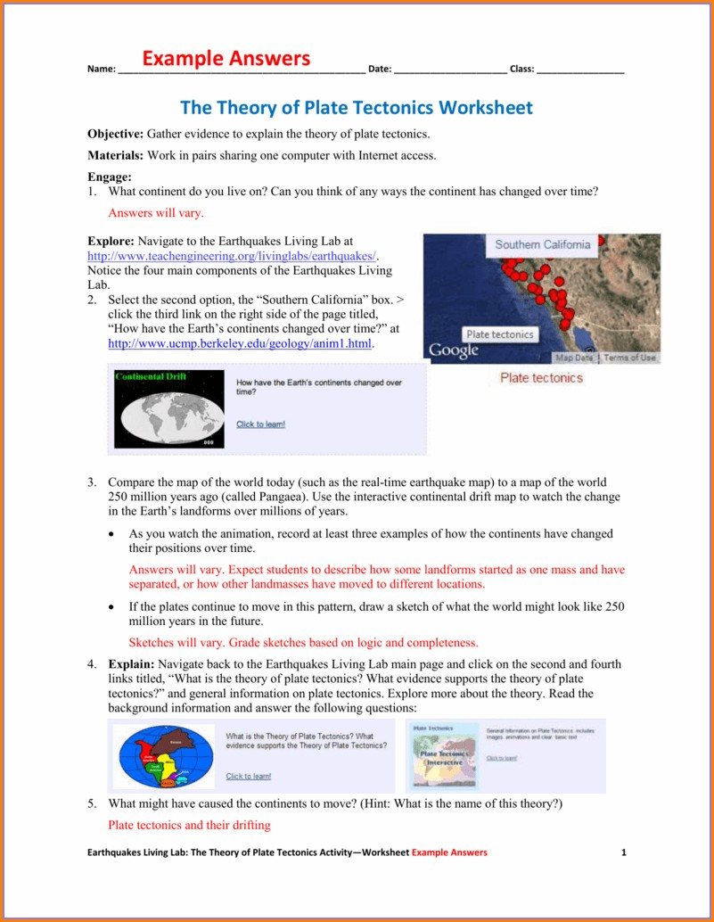 Plate Tectonics Worksheet Answers Key