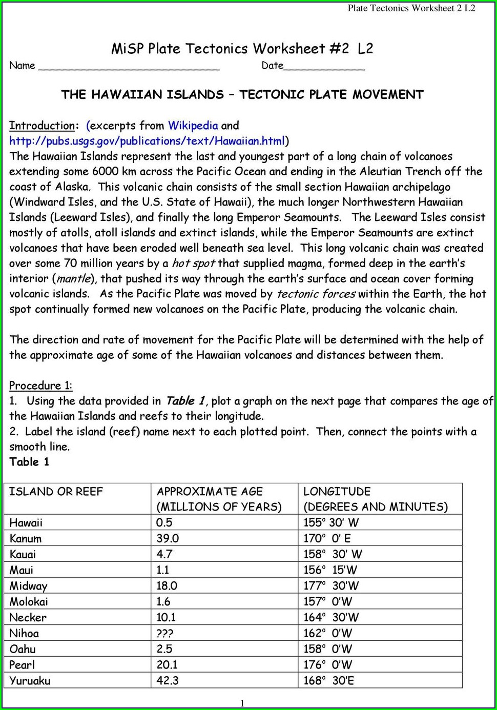Plate Tectonics Worksheet Doc