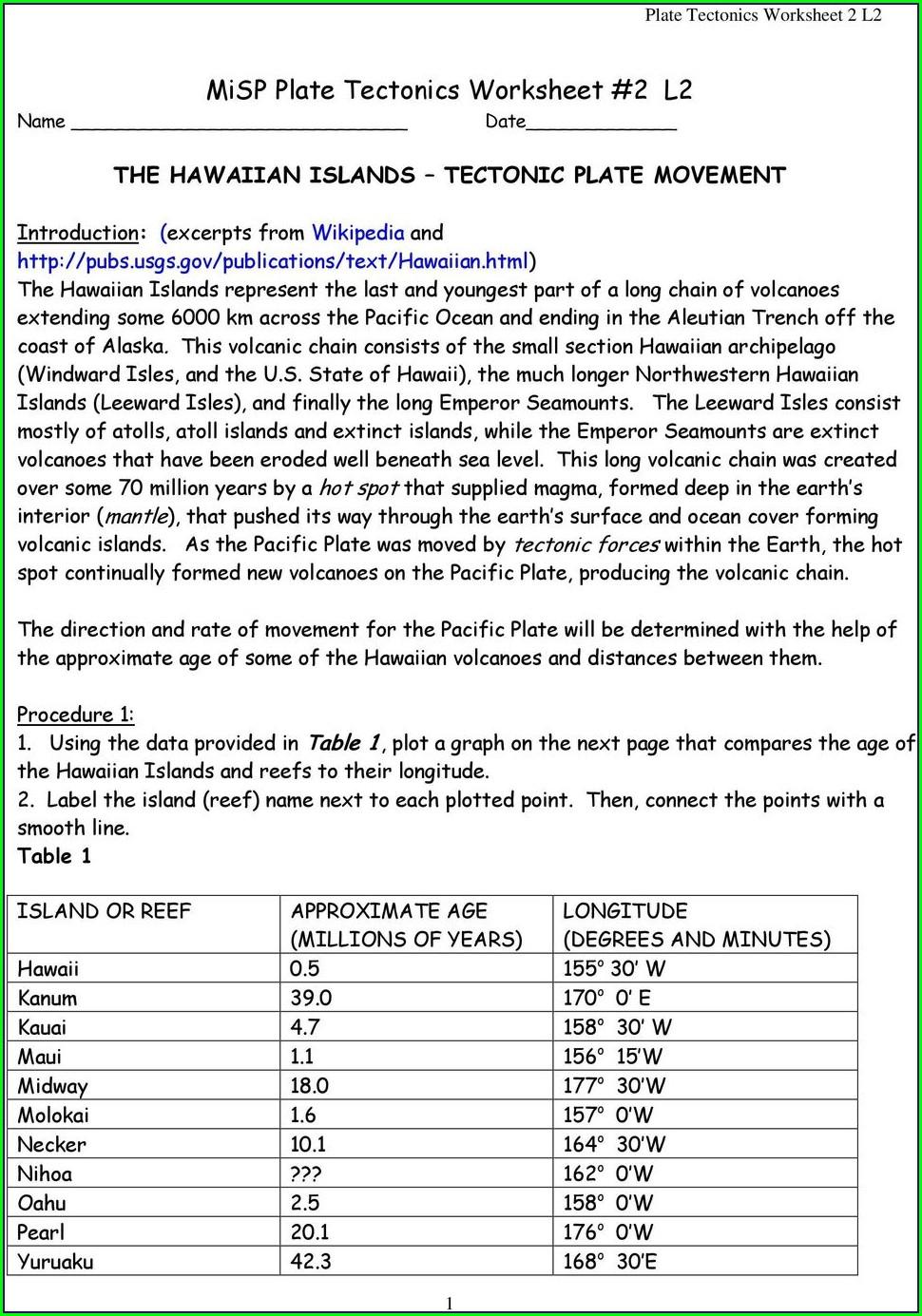 Plate Tectonics Worksheet Doc