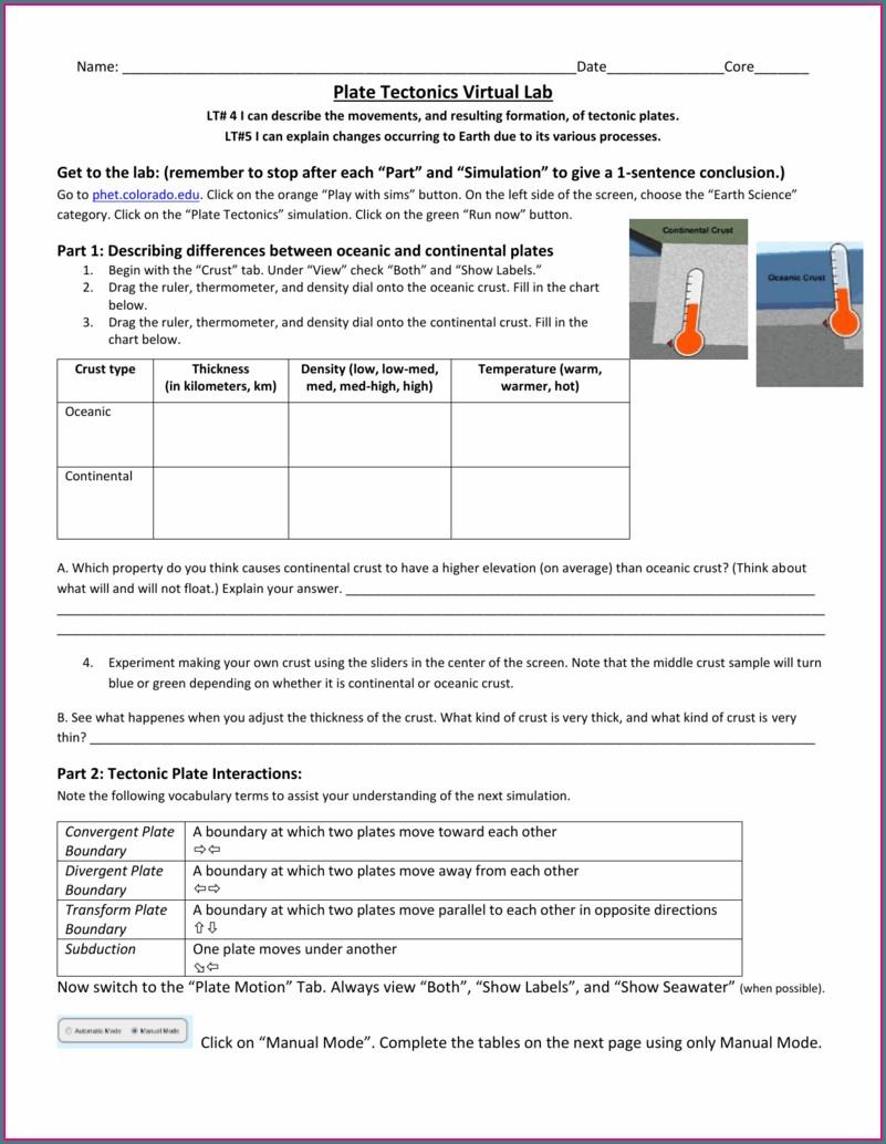 Plate Tectonics Worksheet High School Pdf