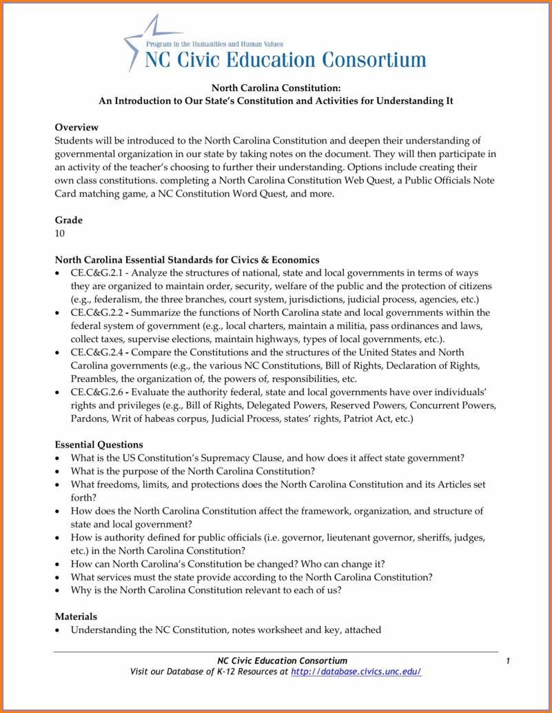 Political Science Worksheet Unc