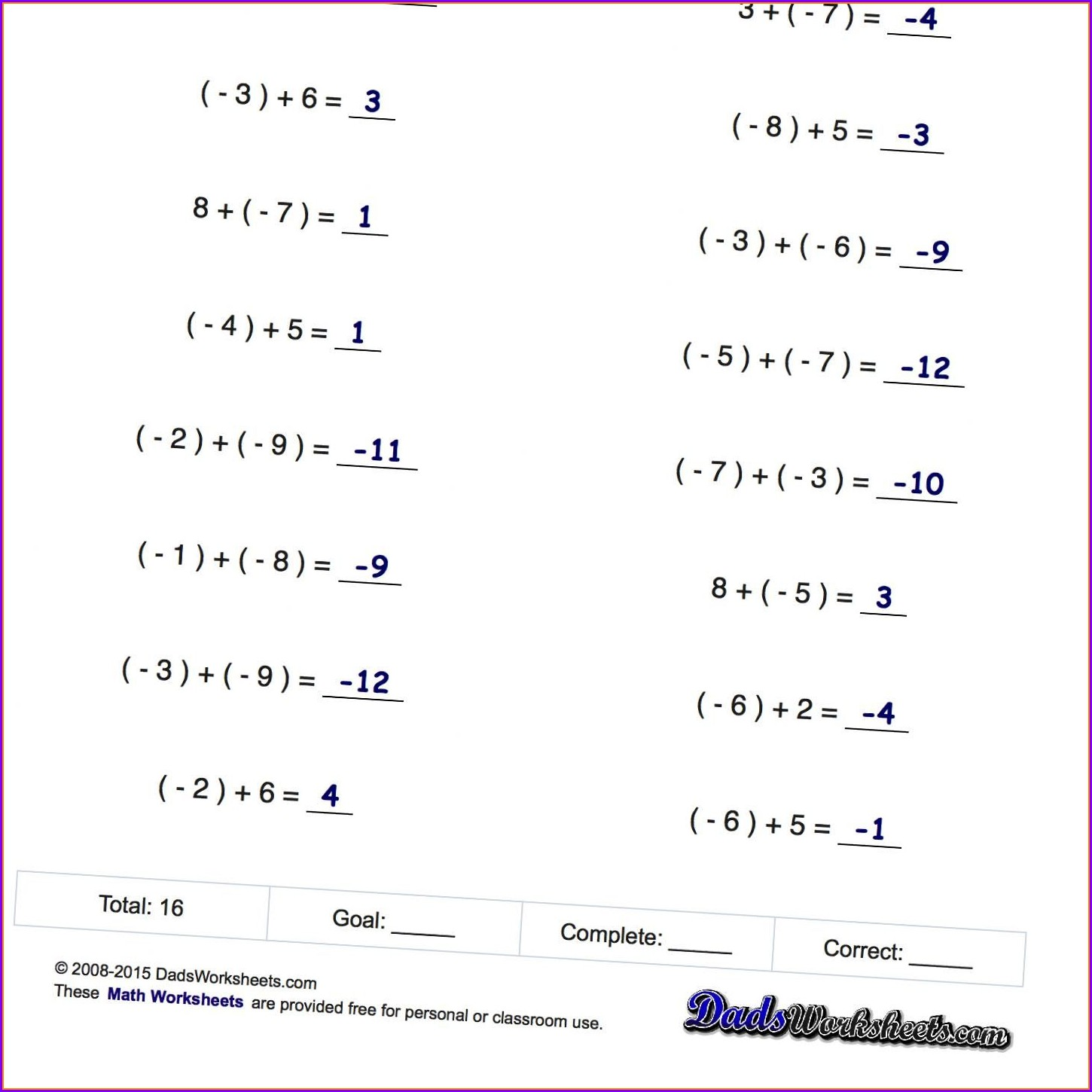 Positive And Negative Numbers Worksheets Grade 7