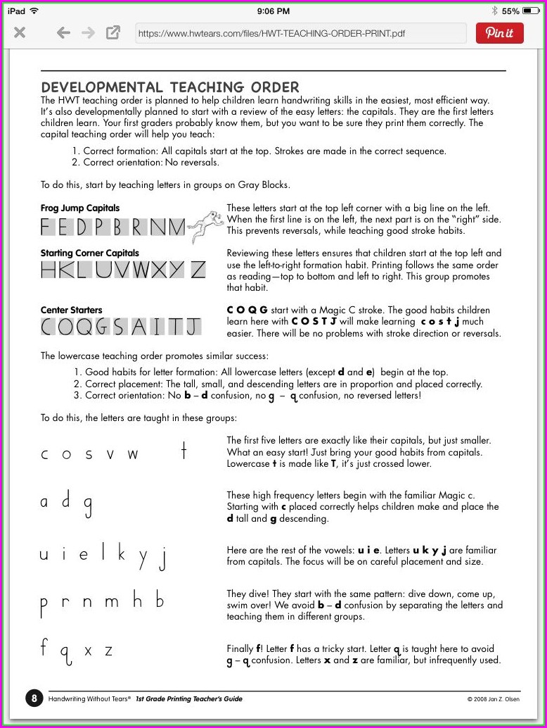 Preschool Handwriting Without Tears Order