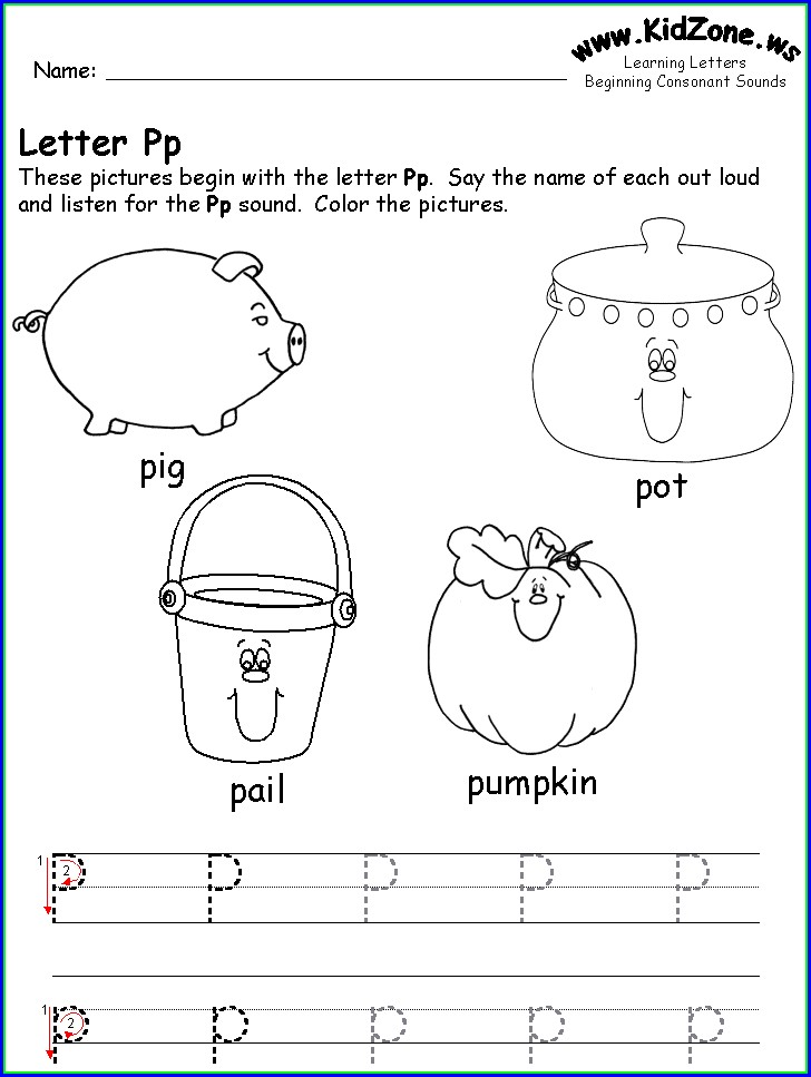 Preschool Letter P Tracing Worksheet
