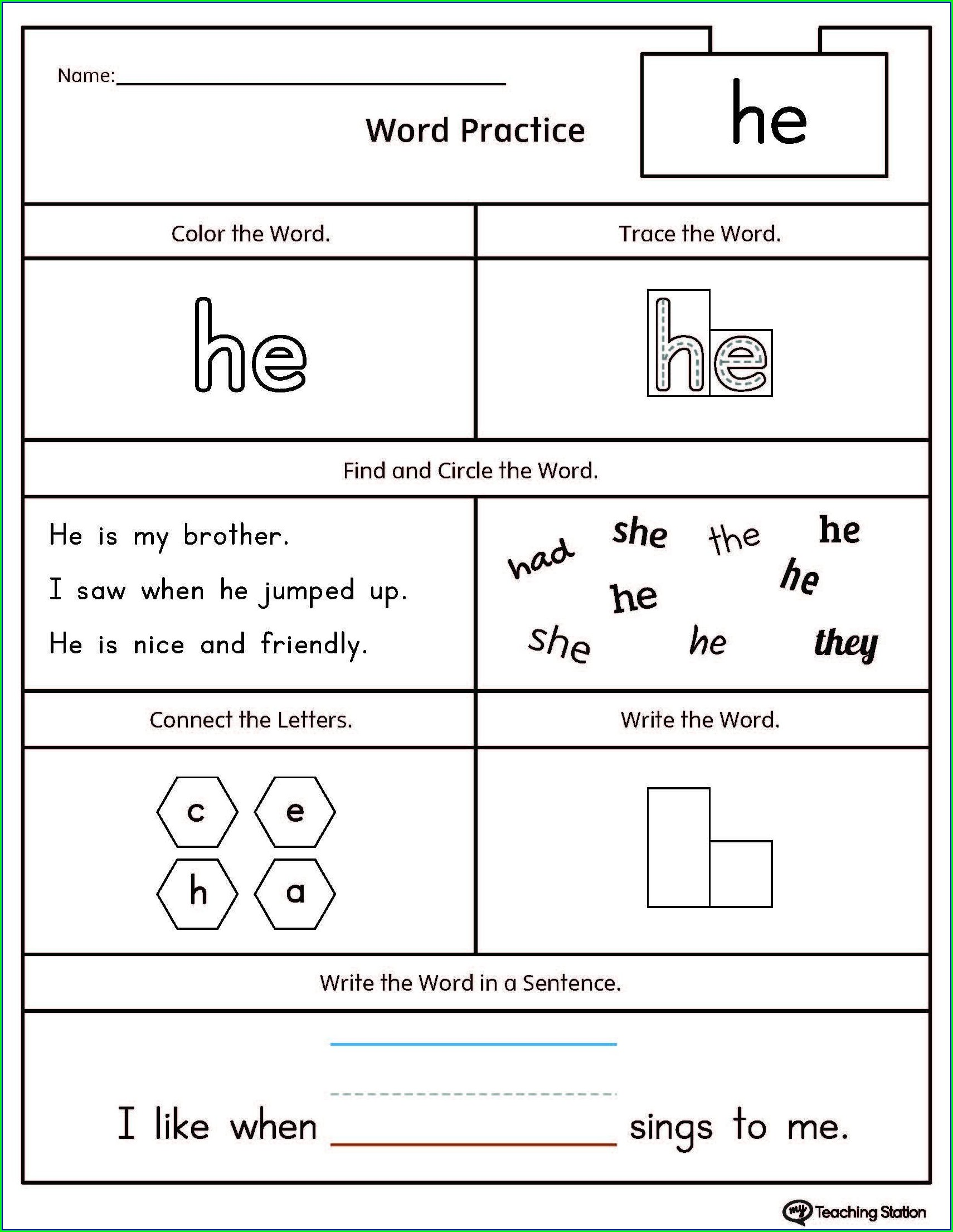 Preschool Sight Words Worksheets Free