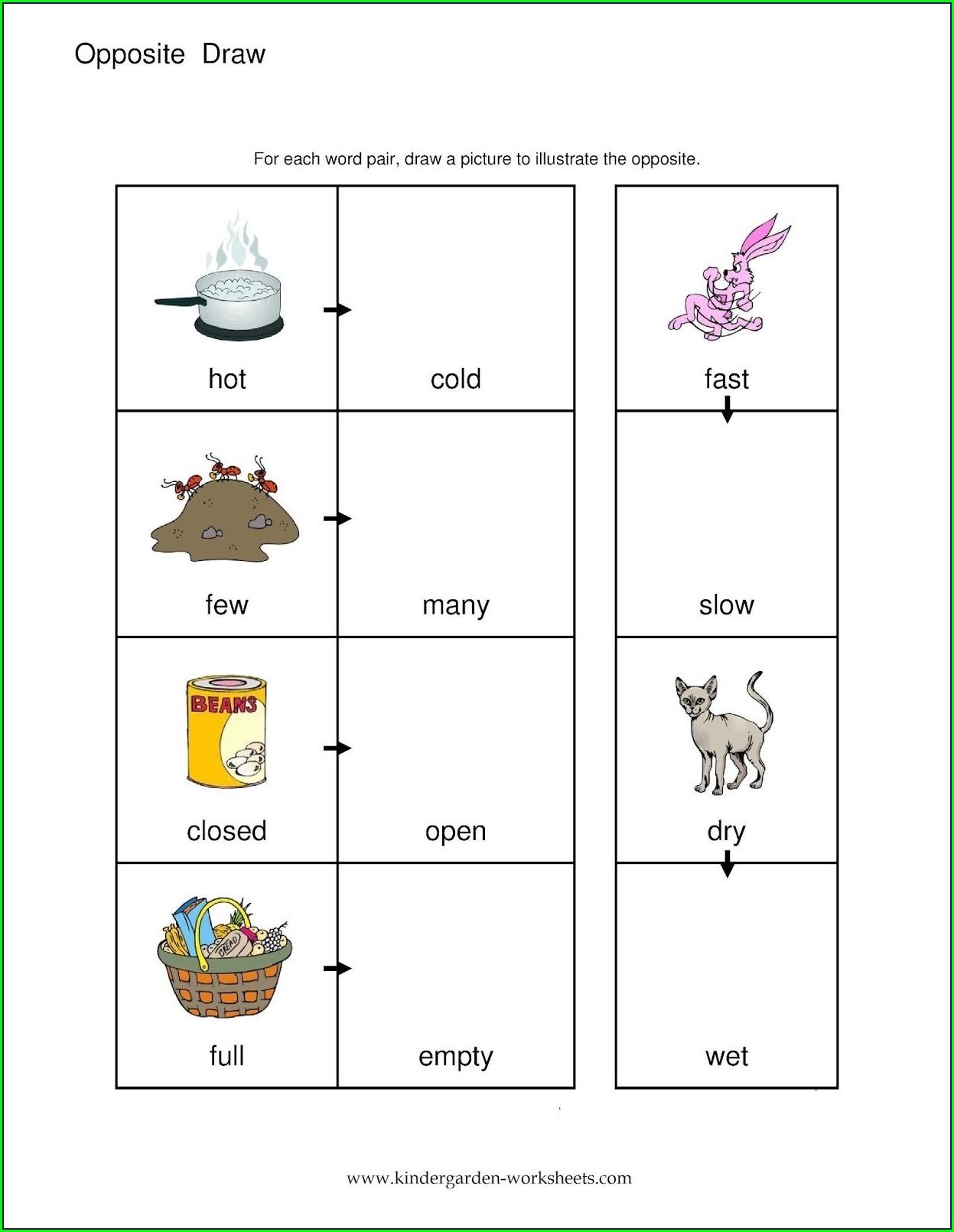Preschool Worksheet For Opposites