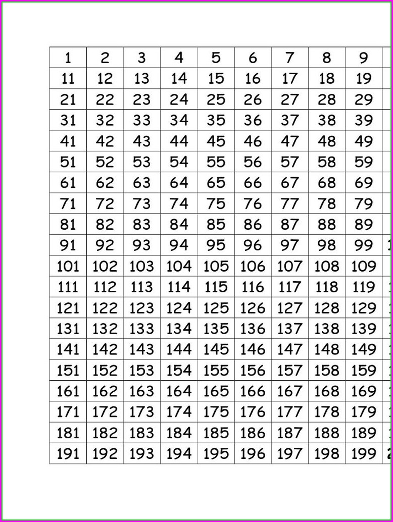 Prime Number Grid Worksheet