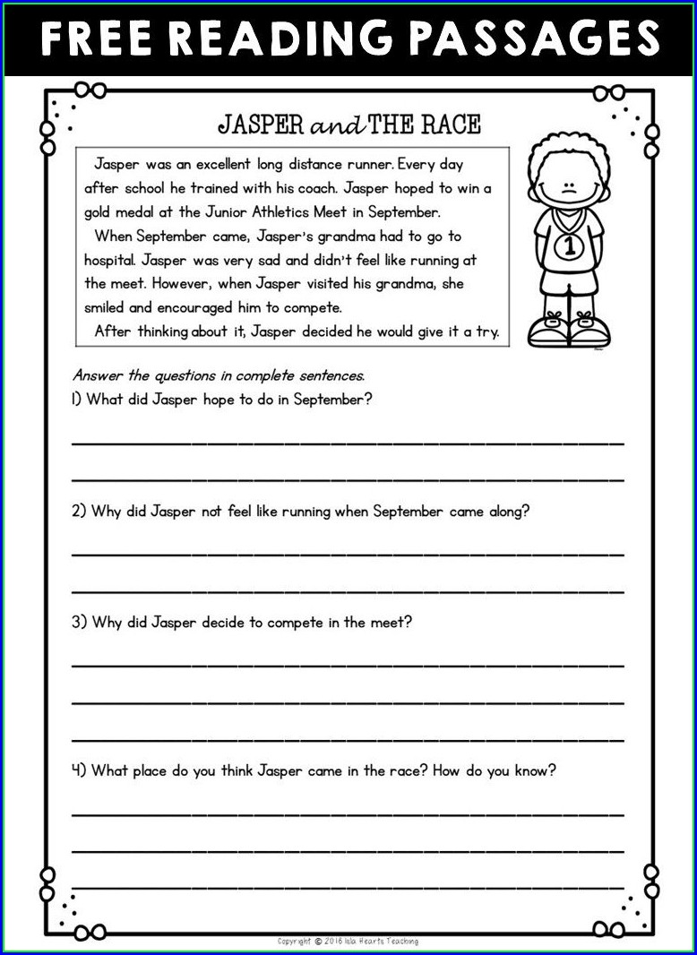 Printable 2nd Grade Comprehension Worksheets