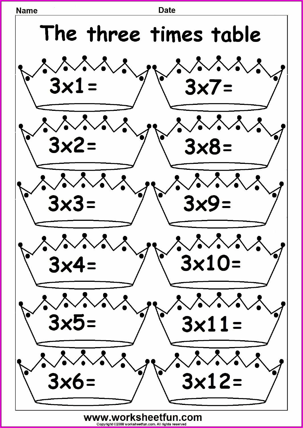 Printable 3 Times Table Colouring Worksheet