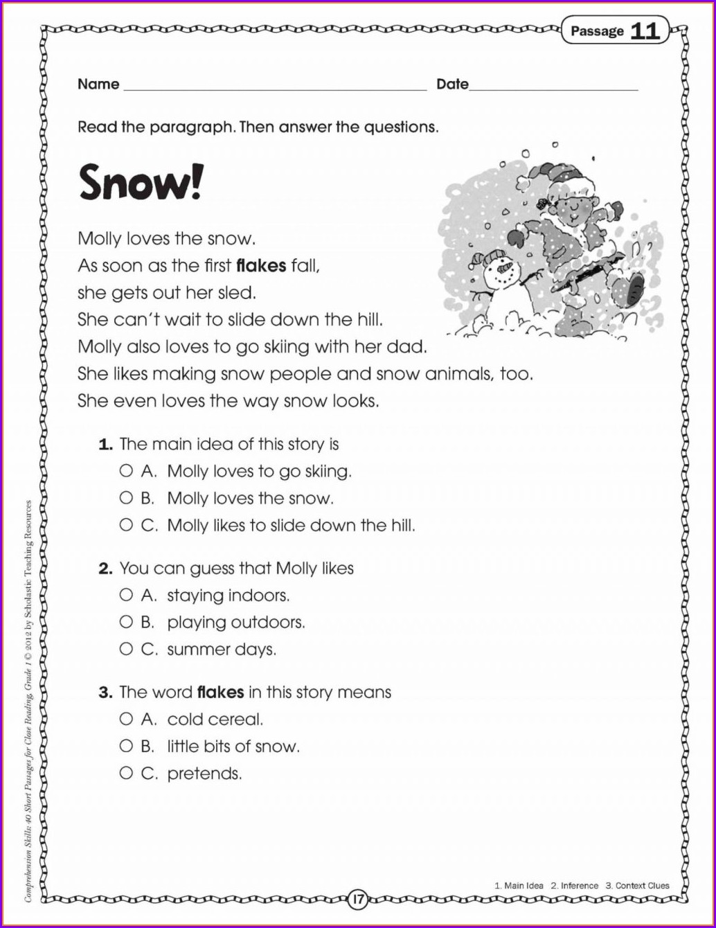 Printable 3rd Grade Reading Comprehension Worksheets