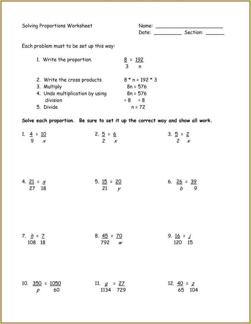 Printable 7th Grade Proportions Worksheet
