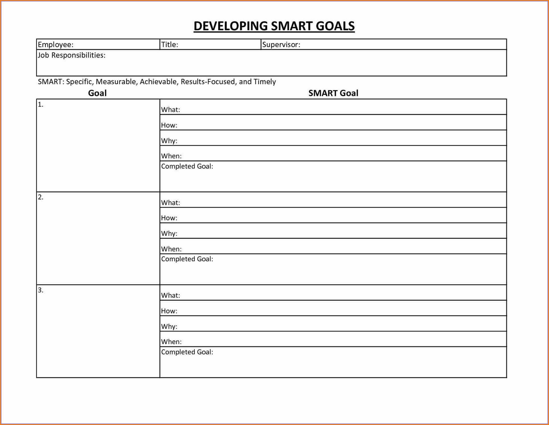 Printable Blank Goal Setting Worksheet