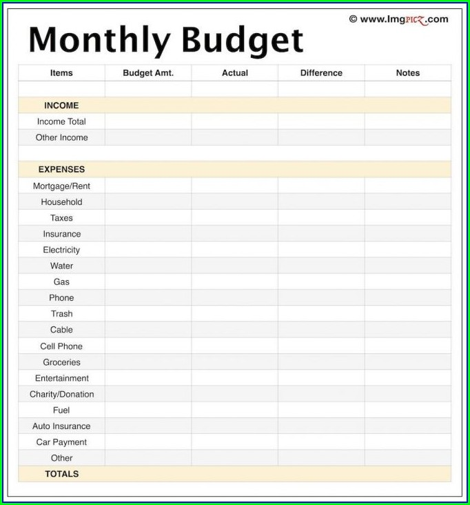 Printable Budget Worksheet Template