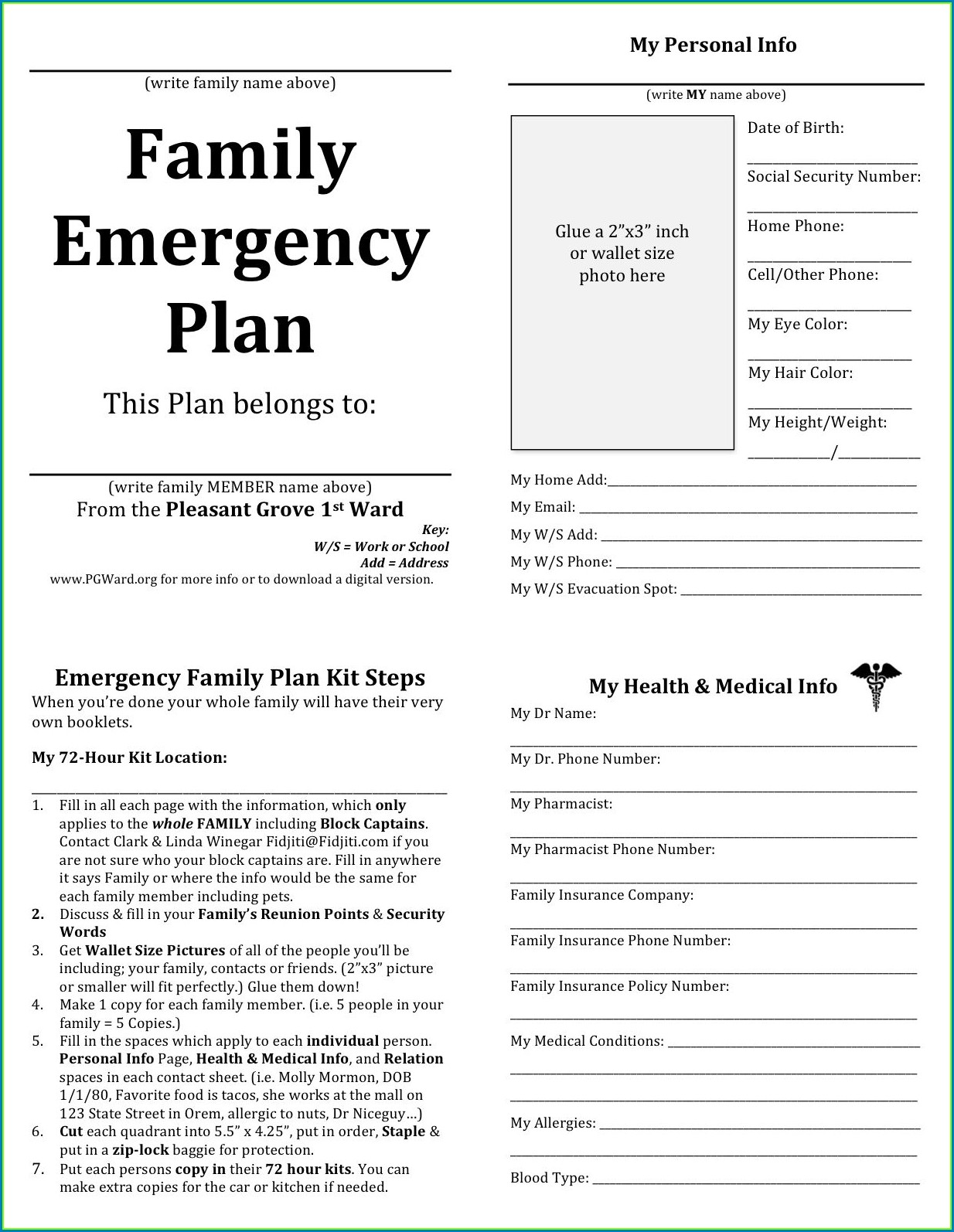 Printable Child Safety Plan Worksheet